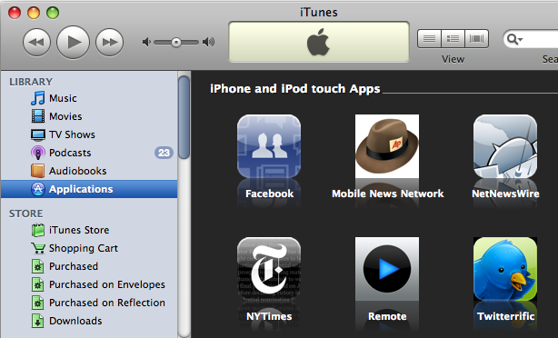 iTunes 7.7, with all of the iPhone apps that I have downloaded so far.